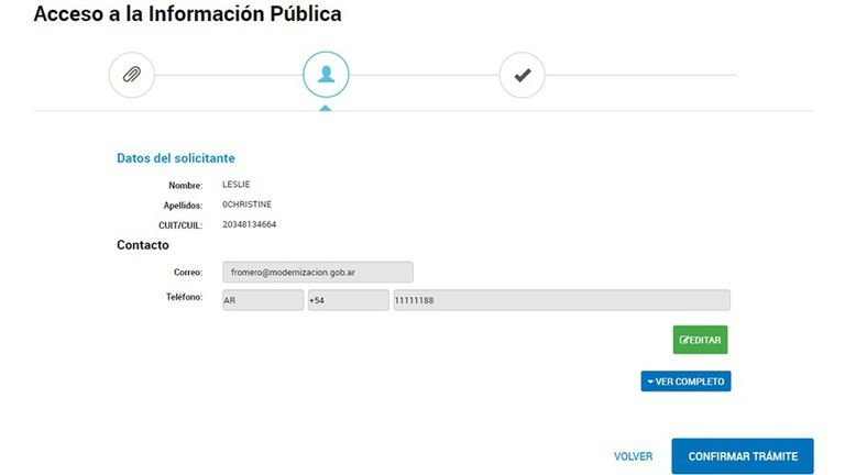 Captura de pantalla del sistema electrónico para pedir información pública