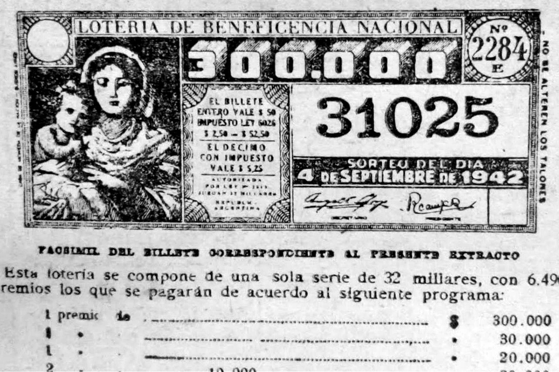 Así era el billete de la trampa de la Lotería de Beneficencia Nacional