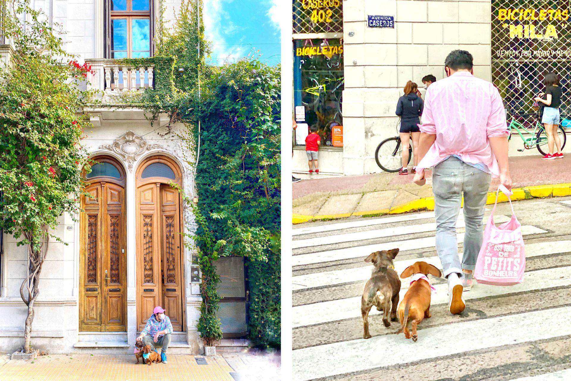 Los paseos de Pascualina y Cocoliche se hicieron más cortitos pero siempre hay un momento para chusmear en la vereda. Derecha. Caminando por el barrio, fuente de historias e inspiración, con una de las bolsas del mercadito.