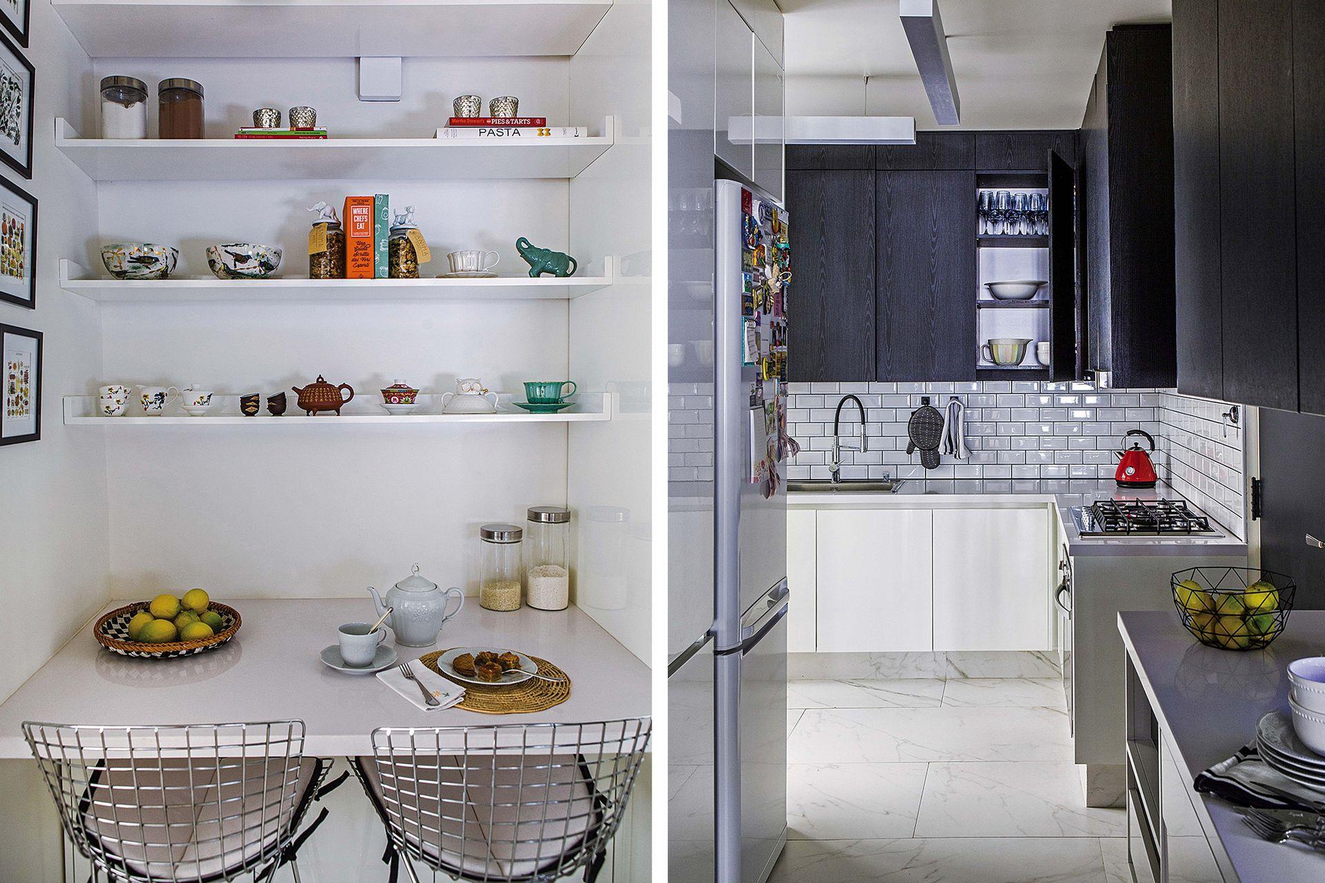 Un antiguo corredor fue reconvertido en cocina: como eran pocos metros, la arquitecta eligió el contraste entre blanco y negro para generar profundidad visual.