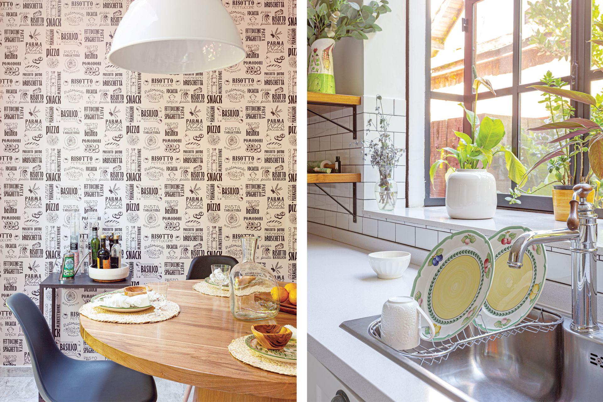 En el comedor diario, mesa y sillas (Binomio Home), individuales y servilletas (Natural Cosas Simples).