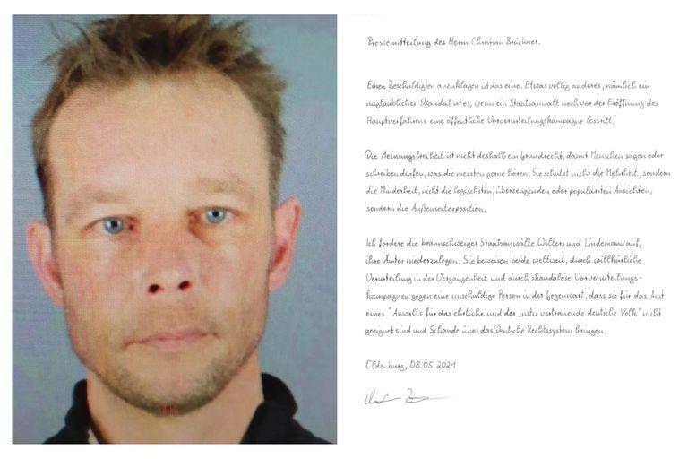 El principal sospechoso del caso, Christian Brueckner, envió una carta para la prensa desde la prisión