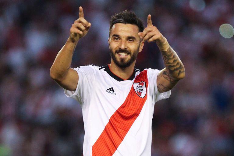Su último festejo ante Independiente en marzo, el segundo de los dos goles (de penal) que hizo en 2019