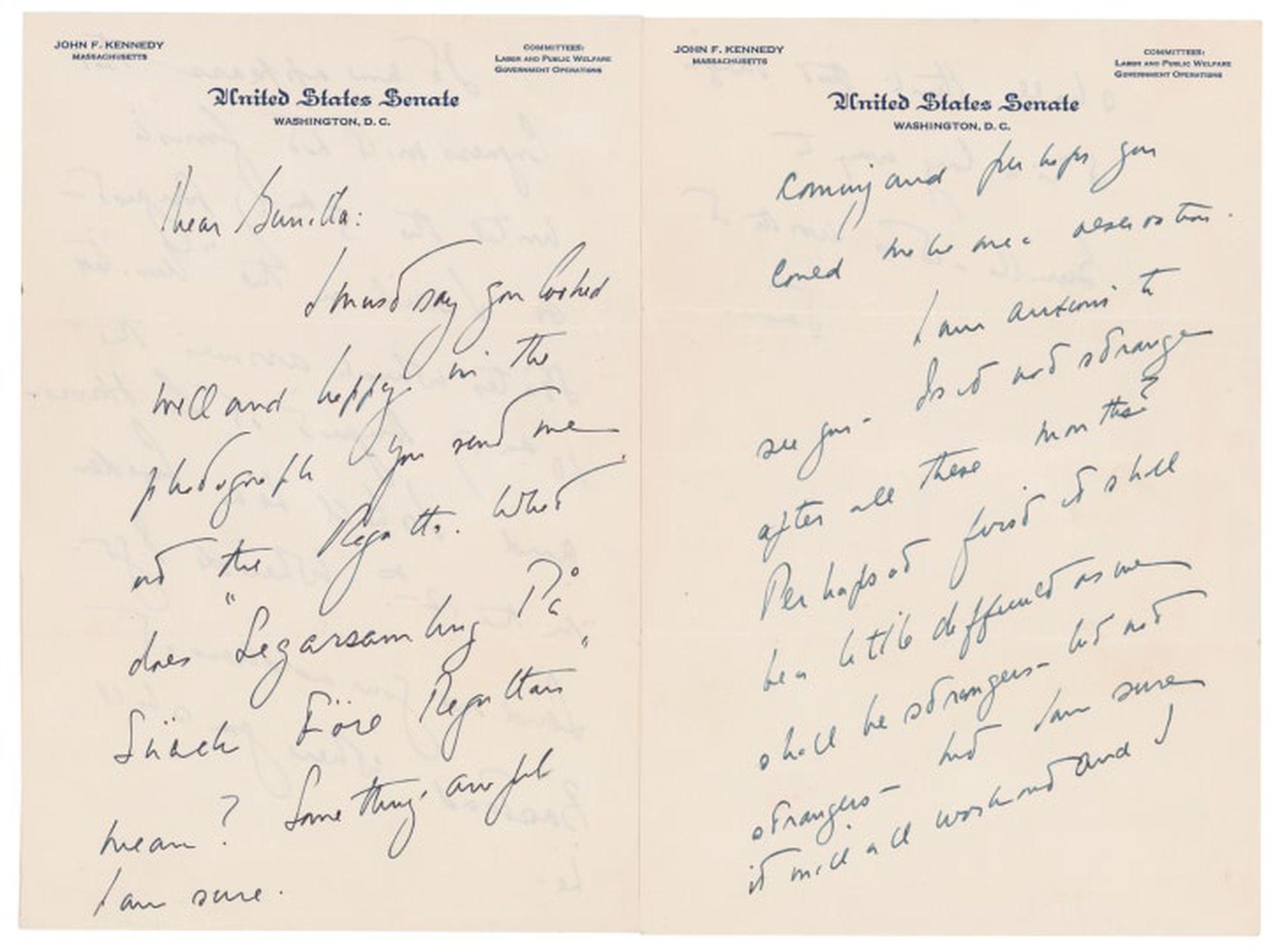 Subastan las cartas de amor de Kennedy a su amante sueca