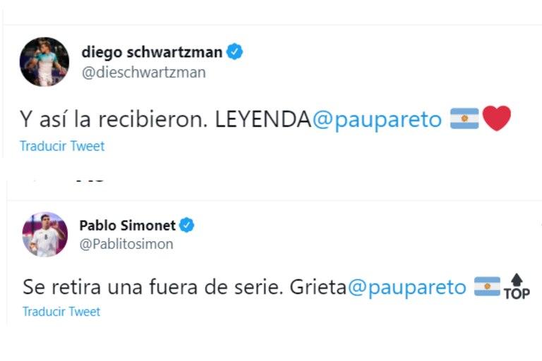 Diego Schwartzman y Pablo Simonet se sumaron a los mensajes de despedida a Paula Pareto