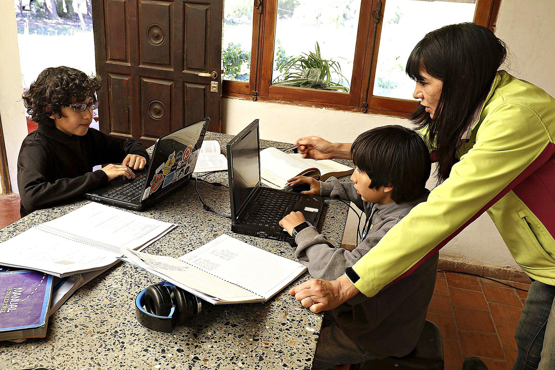 La educación virtual cambió la rutinas; aquí, Tomás y Matías Aranayo estudian en su casa de Purmamarca
