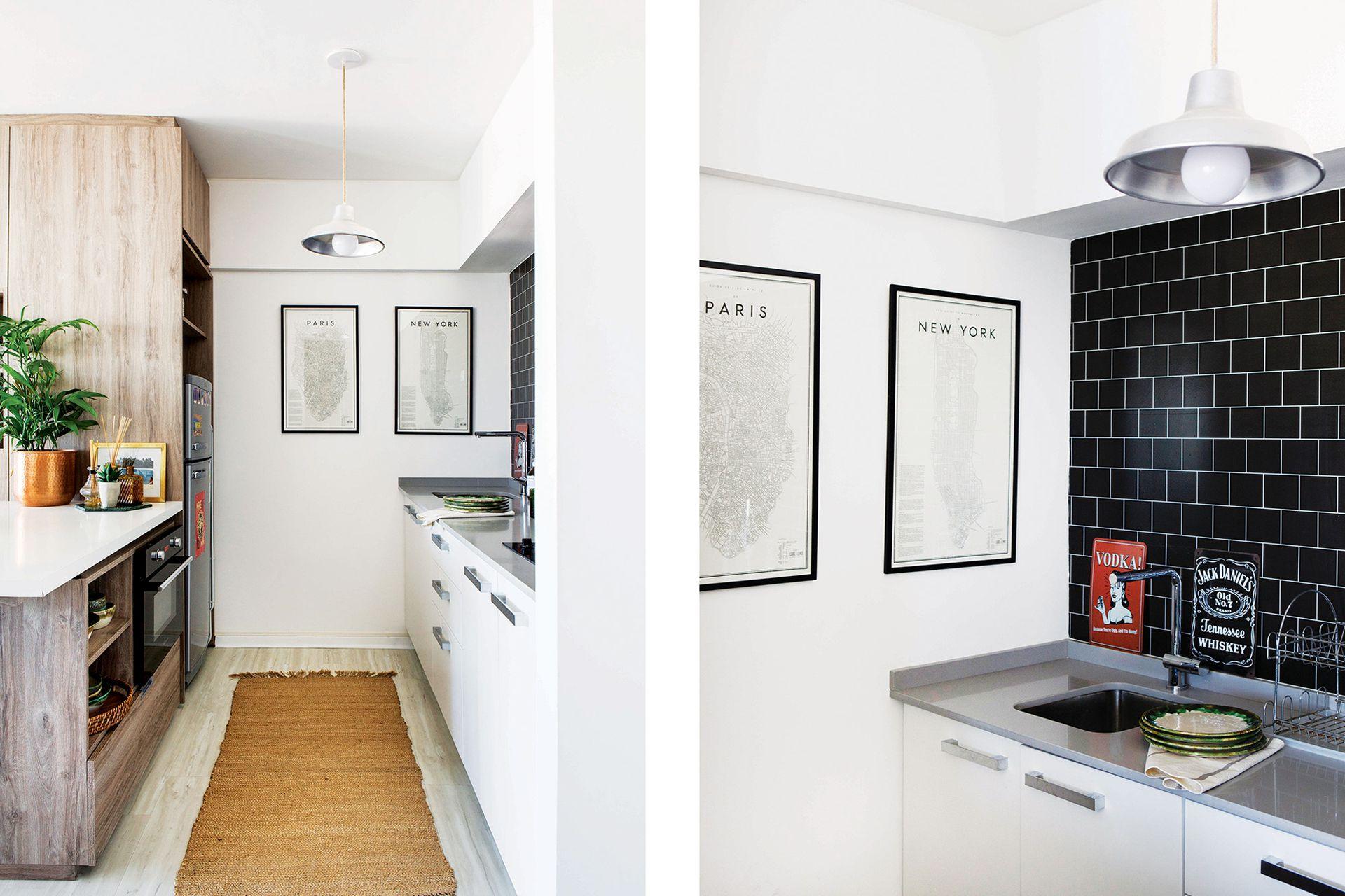 El breve pasillo logra una muy práctica cocina longitudinal, iluminada, cómoda y con mucho espacio de guardado.