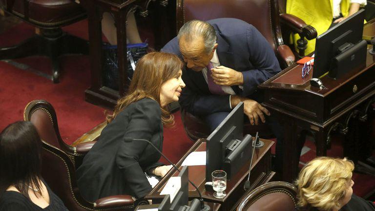 """Cristina y """"el Adolfo"""", durante la ceremonia de jura"""