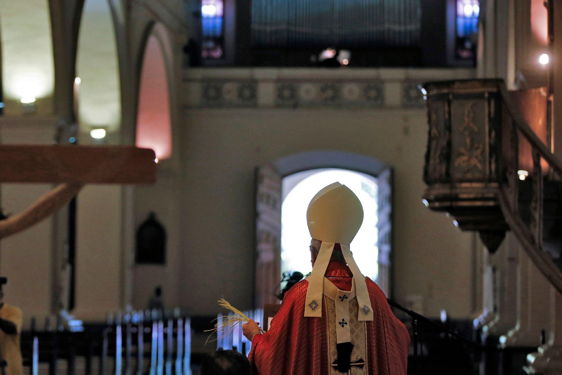 El Arzobispo Edmundo Valenzuela bendice una palma durante la Misa del Domingo de Ramos dentro de la Catedral, desprovista de feligreses