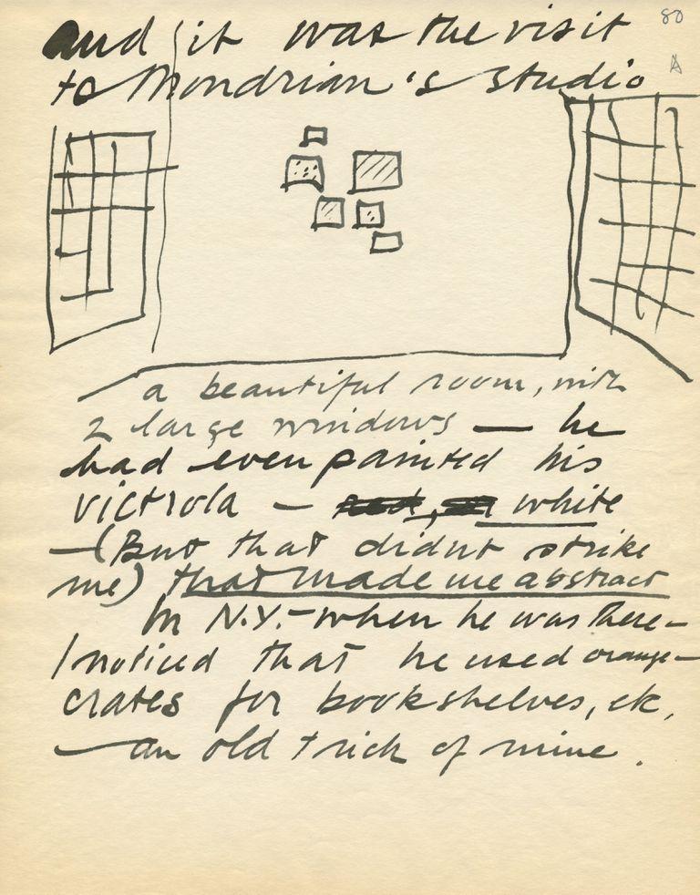 El origen de un universo: a mano alzada, un boceto del taller de Piet Mondrian en París, en un manuscrito de Calder