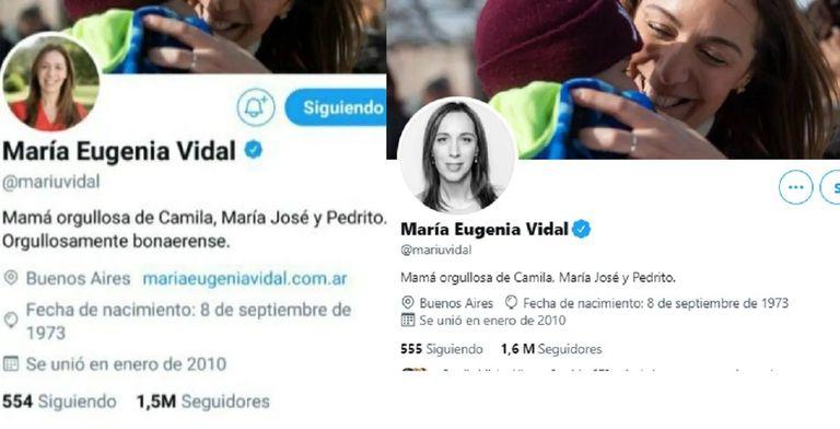 El cambio en la biografía de la cuenta de Twitter de Vidal