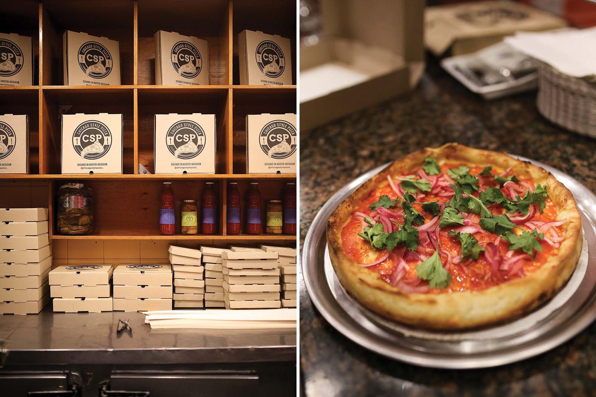 La pizza chicagüense tiene bordes altos, toppings en exceso –suele llevar hasta 1 kilo de muzarella– y masa gruesa.