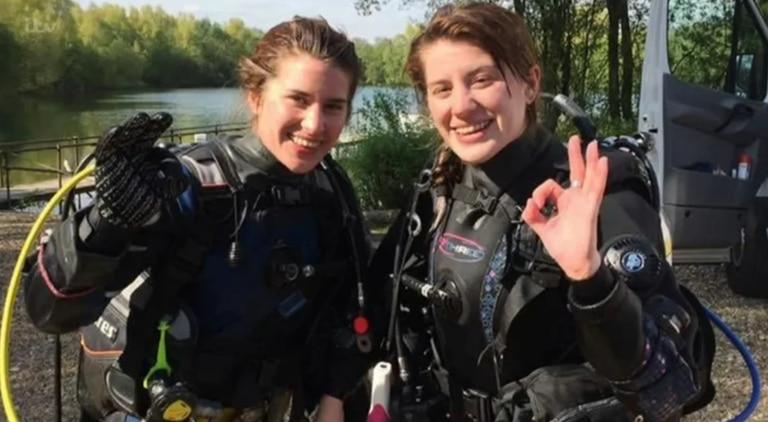 Georgia Laurie es instructora de buceo y Melissa cuidadora de animales en un zoológico. Fuente: ITV.