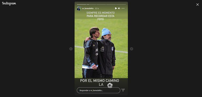 Marcelo Benedetto publicó una de sus fotos favoritas de Diego Maradona y Lionel Messi