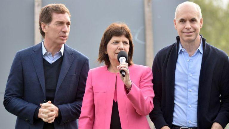 Diego Santilli, Patricia Bullrich y Horacio Rodríguez Larreta