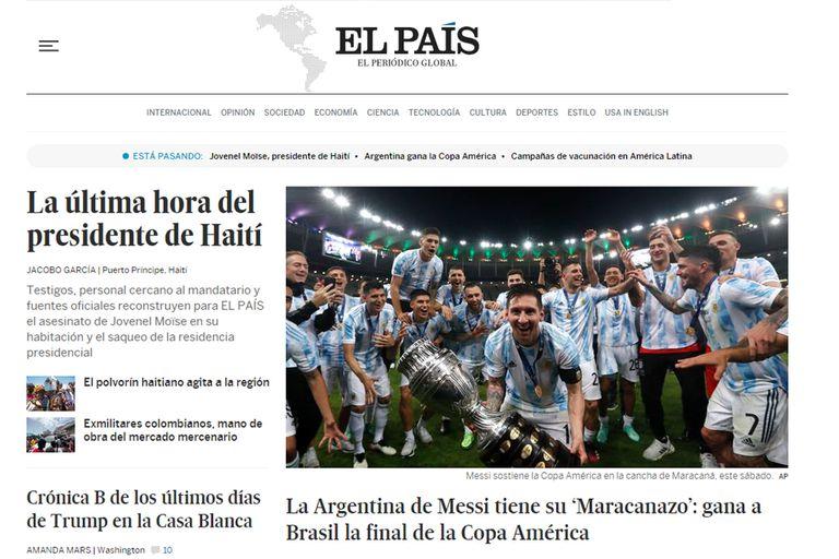 """El País, de España, y el foco en el """"Maracanazo"""" con el título argentino en la Copa América"""