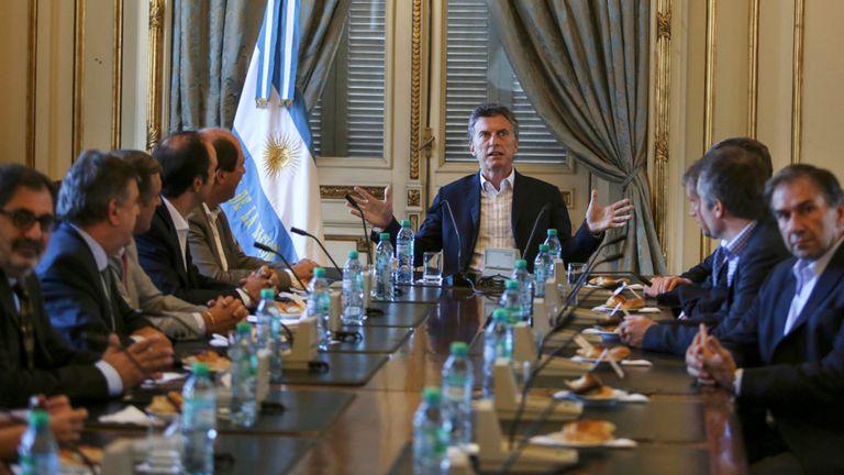 Macri, durante la reunión con la cúpula de la UCR