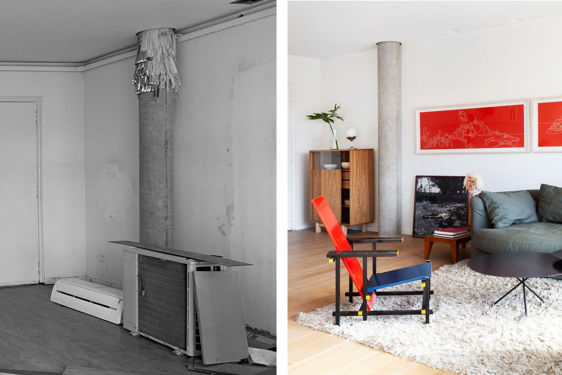 Algunas columnas estaban ocultas y otras a la vista sobre sobre ventanas o paredes. Vajillero (Marini Estudio).