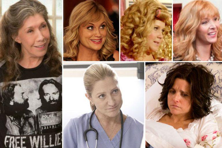 Lily Tomlin, Amy Poehler, Amy Schumer, Lisa Kudrow, Eddie Falco y Julia Louis-Dreyfous