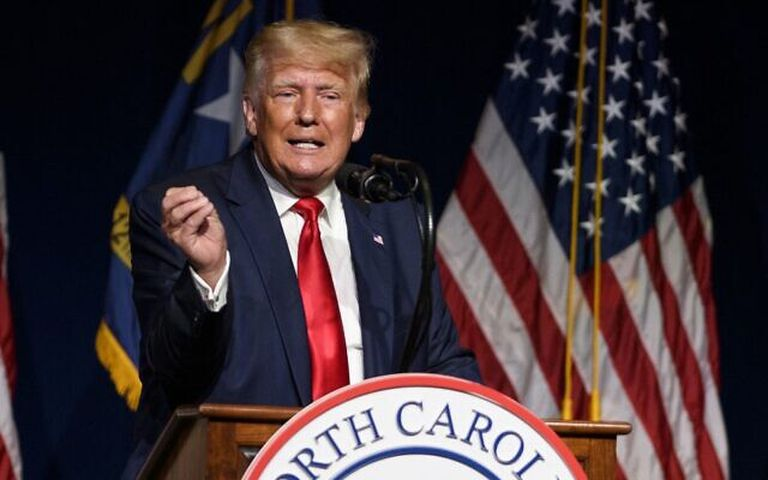 GREENVILLE, NC - JUNE 05: Former U.S. President Donald Trump addresses the NCGOP state convention on June 5, 2021 in Greenville, North Carolina. The event is one of former U.S. President Donald Trumps first high-profile public appearances since leaving the White House in January.   Melissa Sue Gerrits/Getty Images/AFP (Photo by Melissa Sue Gerrits / GETTY IMAGES NORTH AMERICA / Getty Images via AFP)