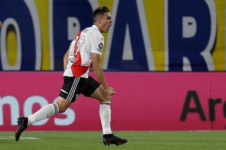 Una imagen repetida: Santos Borré gritando un gol de River; el equipo de Gallardo se debate entre dejarlo ir ahora y recibir dinero por la transferencia o perderlo libre en junio
