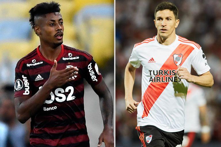 Bruno Henrique y Nacho Fernández, protagonistas del Flamengo-River que se viene: la final de la Copa Libertadores.