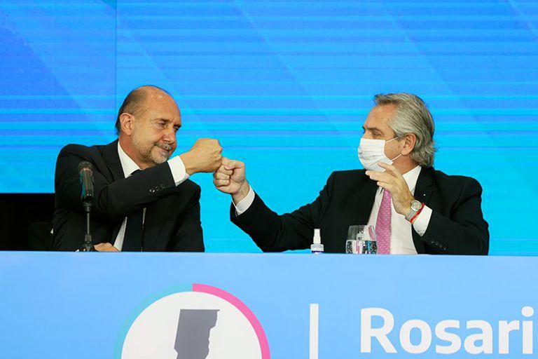 En una semana Omar Perotti acumuló anuncios de fondos y obras de la Casa Rosada