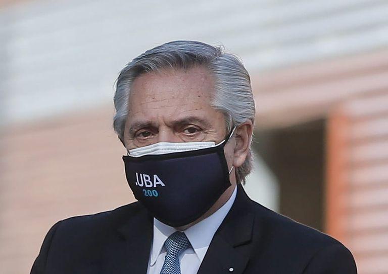 El presidente Alberto Fernández durante el acto en el Centro Argentino de Protonterapia