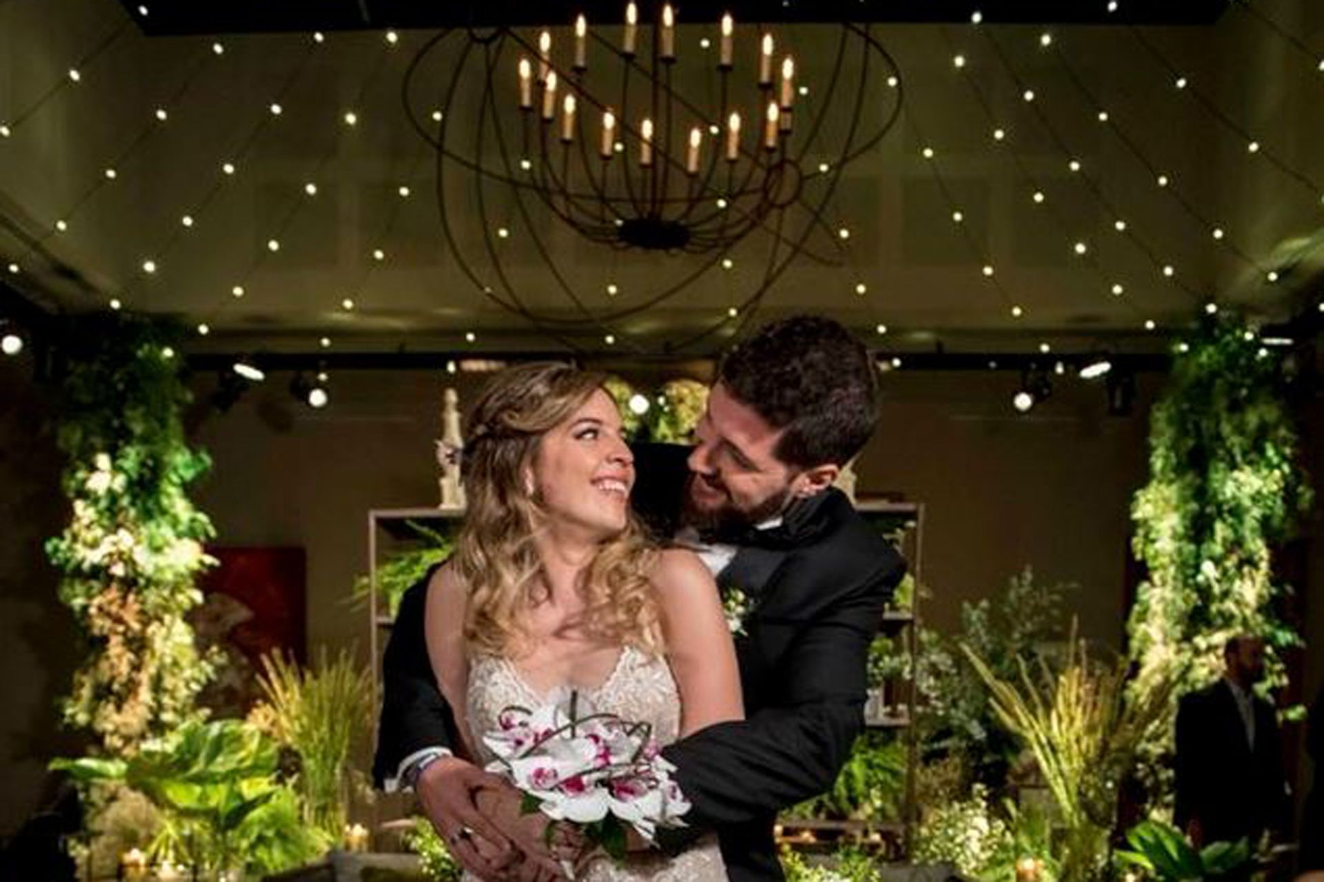2018. Dalma Maradona y Andrés Caldarelli en su fiesta de bodas. Un año después nacería Roma, la primera hija del a pareja