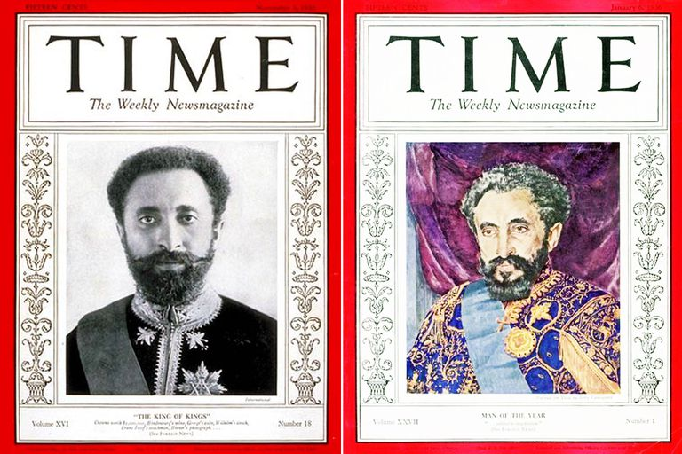 Haile Selassie en la portada de la revista estadounidense Time, 1930 y 1936