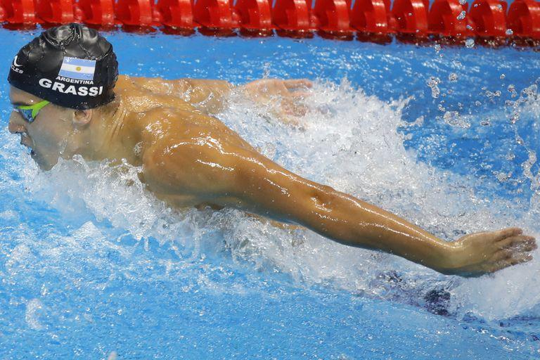 En los Panamericanos de Lima Grassi batió el récord argentino de 100 metros en mariposa y se ganó un lugar en Tokio 2020; luego resultó tercero en la final de esos Panamericanos.