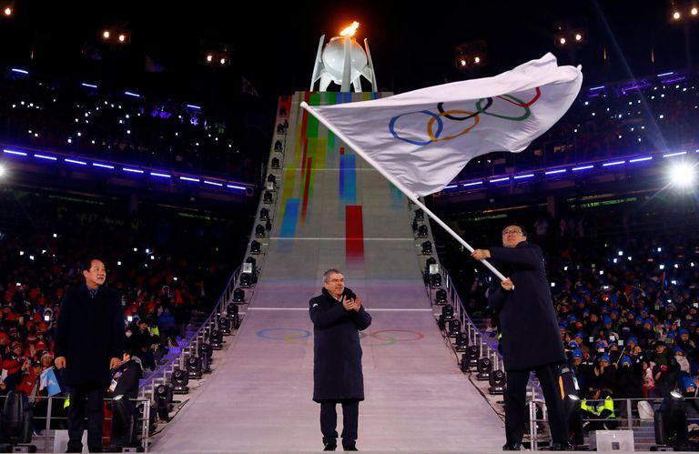 Chen Jining en la clausura de los Juegos Olímpicos de invierno en Pyeongchang