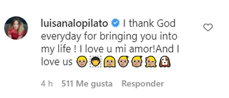 La respuesta de Luisana Lopilato a Michael Bublé luego de que la saludara por el Día de la Madre.
