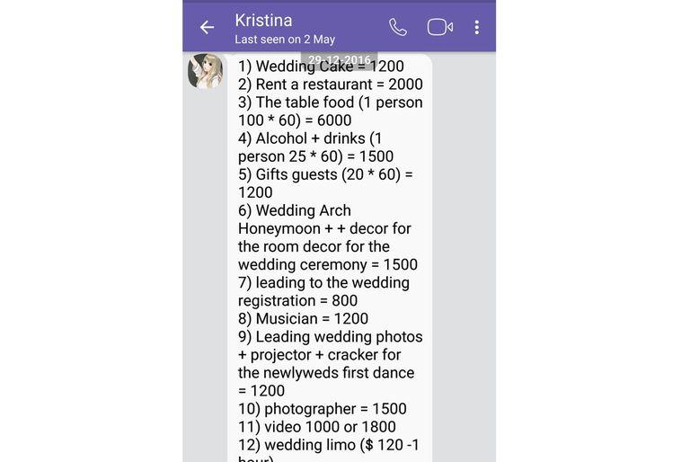 Kristina tenía una larga cuenta de gastos de boda por unos US$20.000.