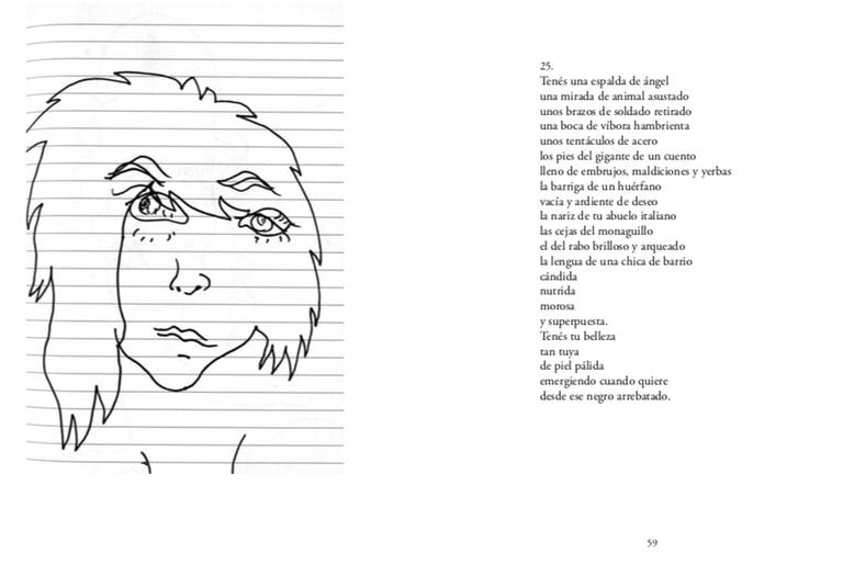 Un díptico del profuso ida y vuelta entre los dibujos de Juliana Lafitte de Mondongo y los poemas de la cineasta Albertina Carri