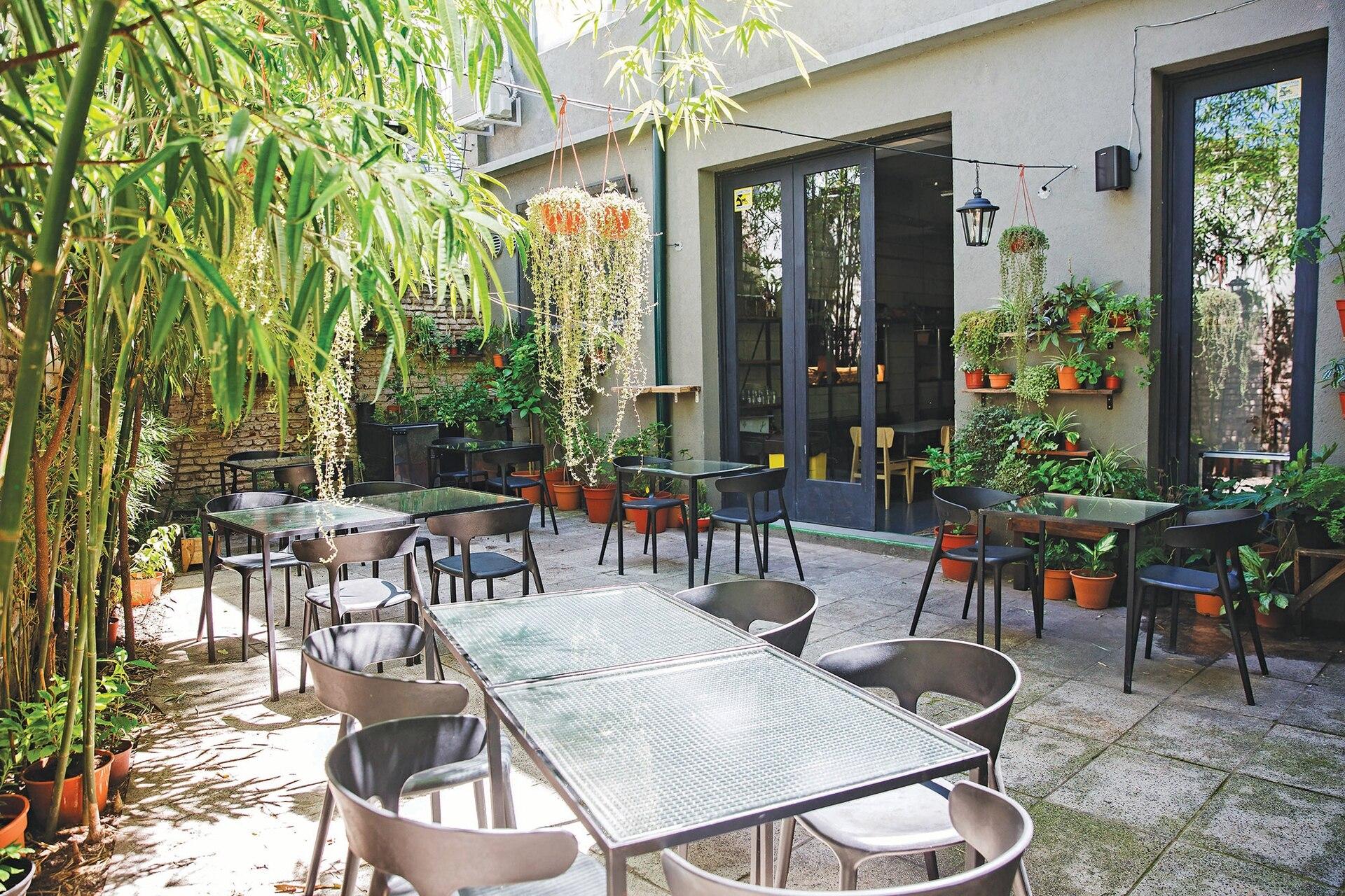 Oasis verde, el patio arrabalero está perfumado por una pequeña huerta de la que salen especias frescas.