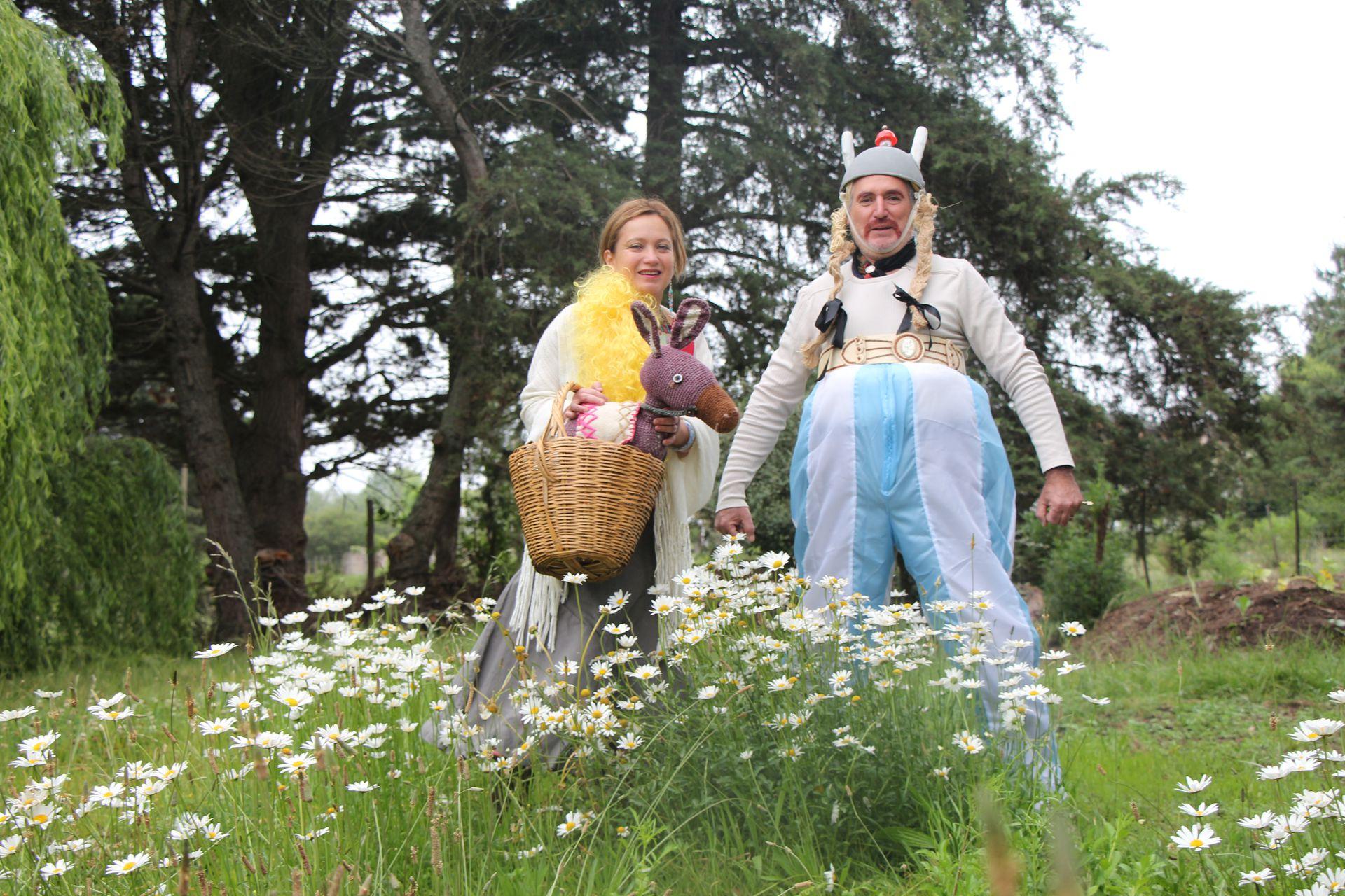 Para un carnaval se disfrazaron de Obélix y Falbalá, recreando la historieta francesa Astérix.