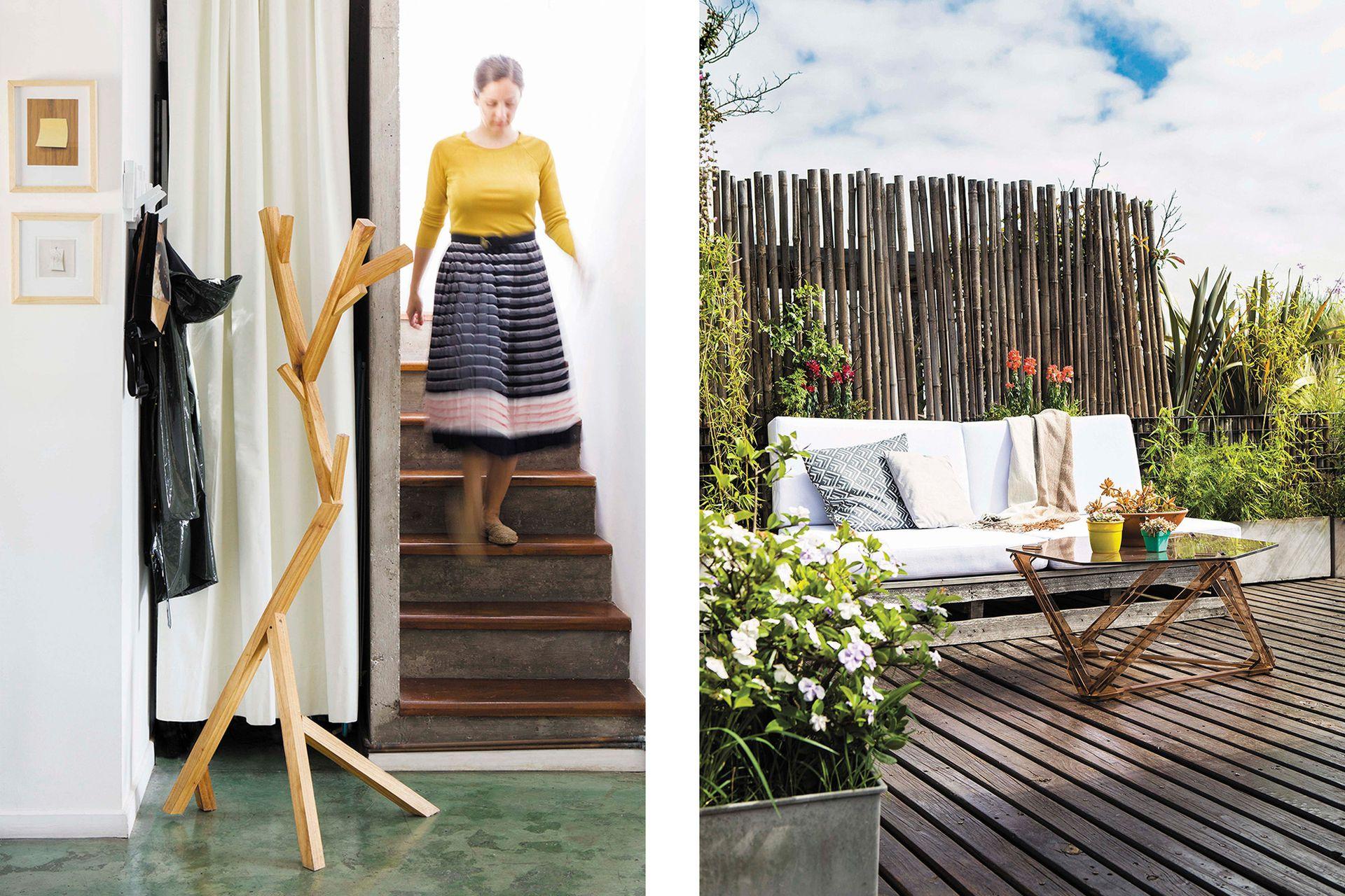 En la terraza se colocó una mesa ratona (Diseñaveral), libre de tornillos y pegamentos, hecha de piezas de plástico reconstituido a partir de desechos de acrílico.