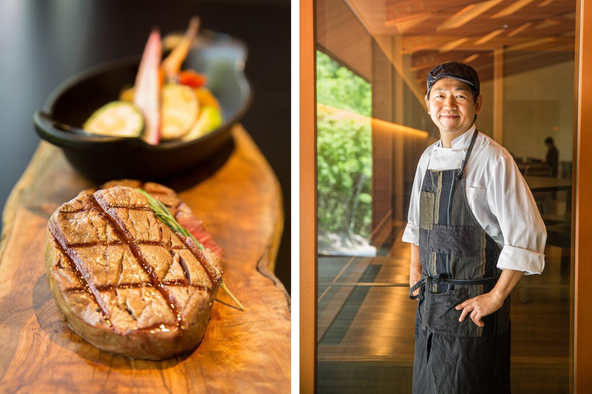 La sabrosa carne kobe, con denominación de origen y la vacuna más cara del mundo, es servida en el restaurante del resort. El chef encargado de estas delicias.