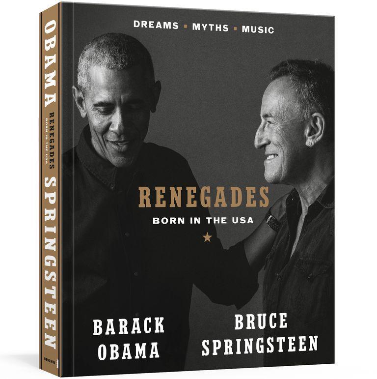 """En esta imagen proporcionada por Crown, la portada del libro """"Renegades: Born in the USA"""" del expresidente Barack Obama y el músico Bruce Springsteen. (Cortesía de Crown vía AP)"""