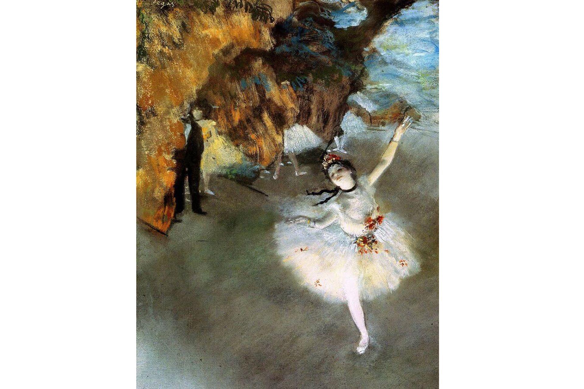 """""""L'etoile"""" (La estrella), uno de sus legendarios retratos de bailarinas de Edgar Degas, 1878, pertenece a la colección del Musée D'Orsay de París. El medio social del que Degas tomaba sus modelos era la Ópera, donde a fines del siglo XIX los hombres ricos de París iban en busca de chicas"""