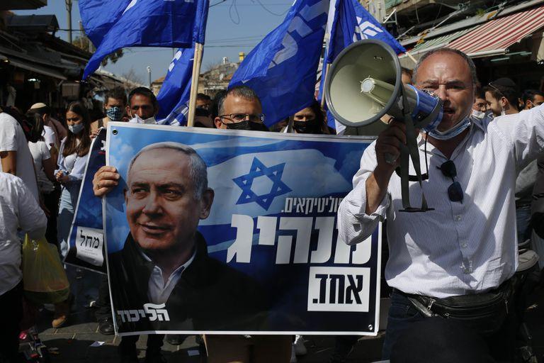 Partidarios de Benjamin Netanyahu en Israel