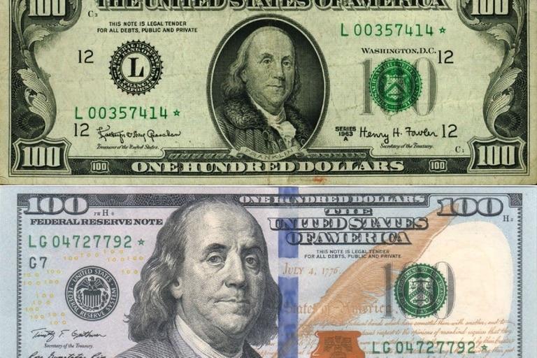 Los papeles con la figura de Franklin más pequeña se aceptan en el mercado blue, pero a un precio hasta $5 menor