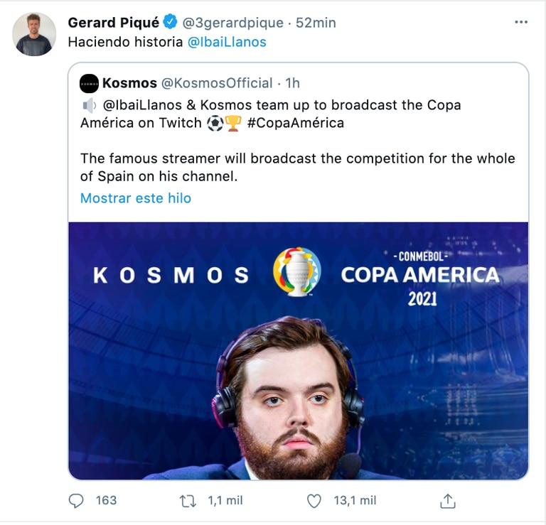 Piqué es dueño de la empresa Kosmos, que junto a Ibai transmitirá la Copa América para España en Twitch