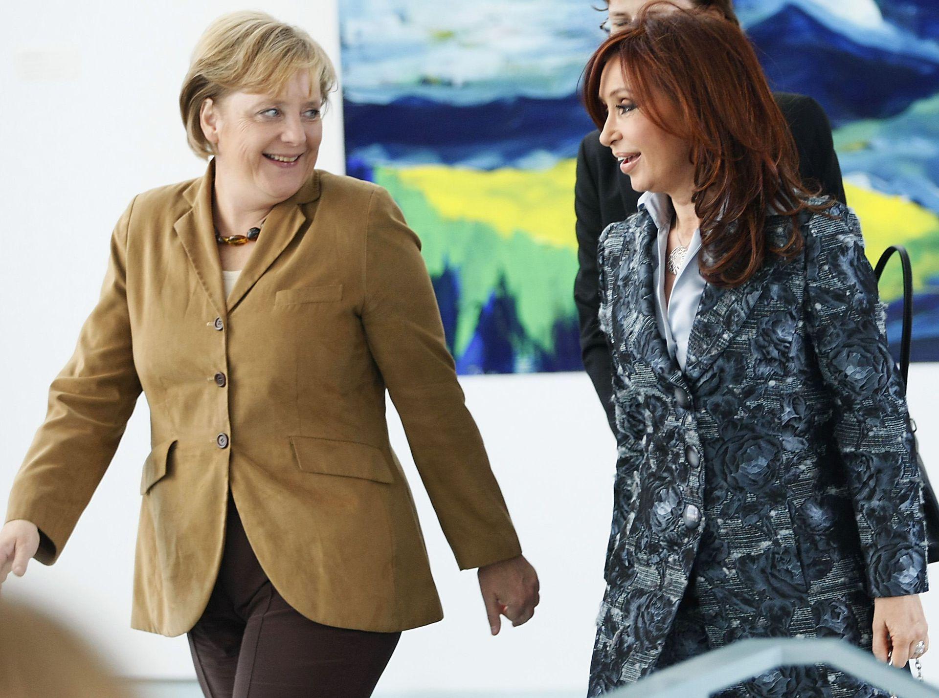 Angela Merkel se reunió con Cristina Kirchner cuando estaba en campaña para la elección presencial en la Cancillería en Berlín el 11 de septiembre de 2007