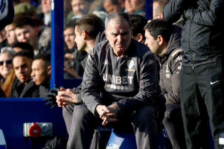 Marcelo Bielsa, durante el partido que su equipo, Leeds, perdió por 1 a 0 ante el QPR, por el Championship inglés.