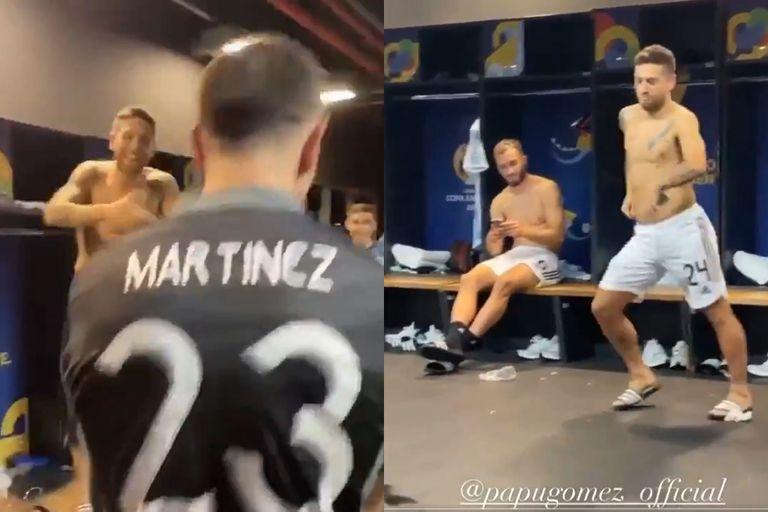 El tradicional baile del Papu Gómez; tras la victoria de la selección sobre Colombia, también se sumó el héroe de la noche, Dibu Martínez
