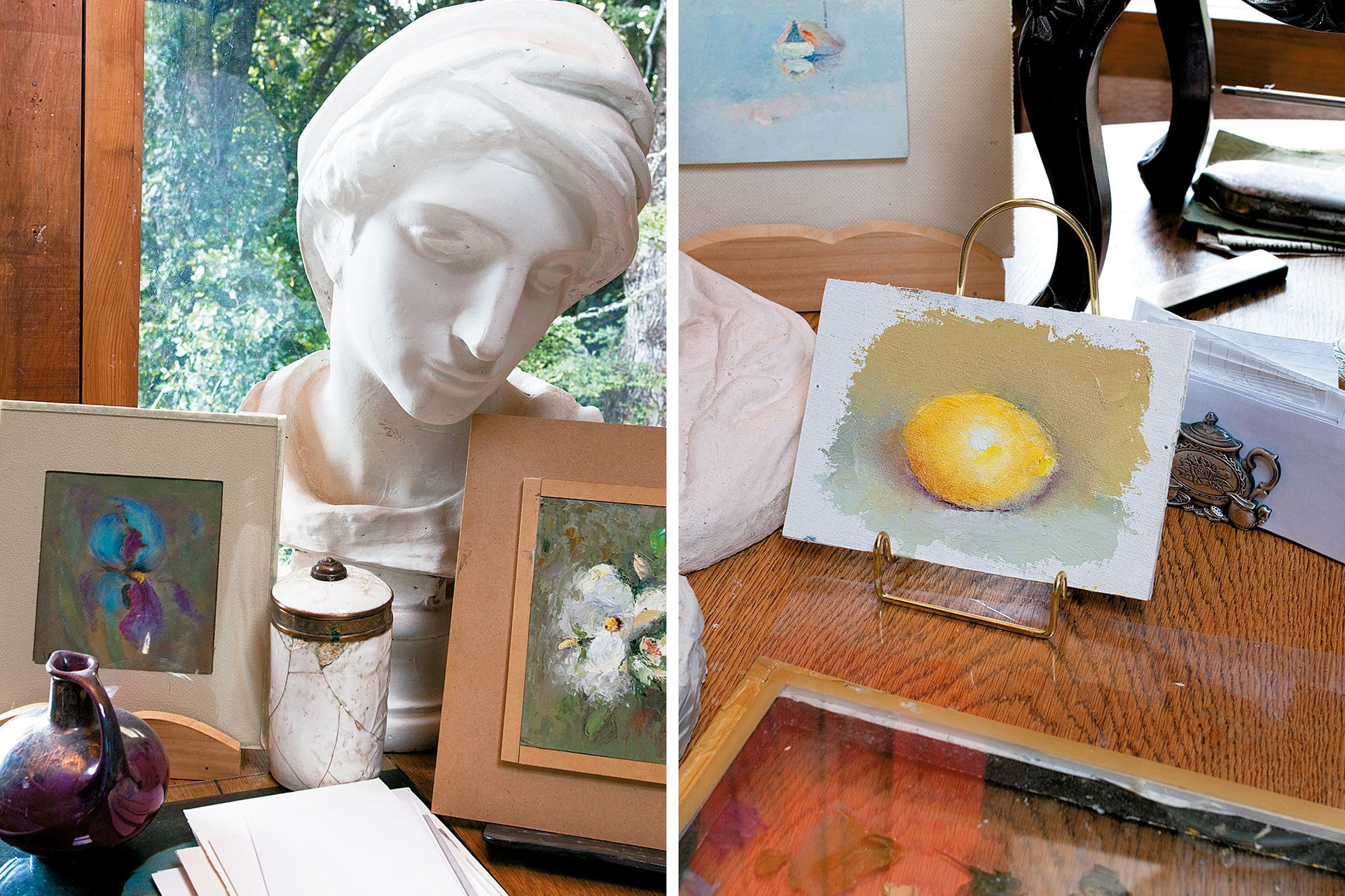 A la derecha, pintura de la dueña de casa: la acuarela de un limón.