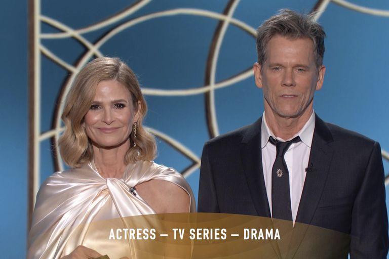 Kyra Sedgwick y Kevin Bacon presentaron el Globo de Oro a la mejor actriz dramática en TV