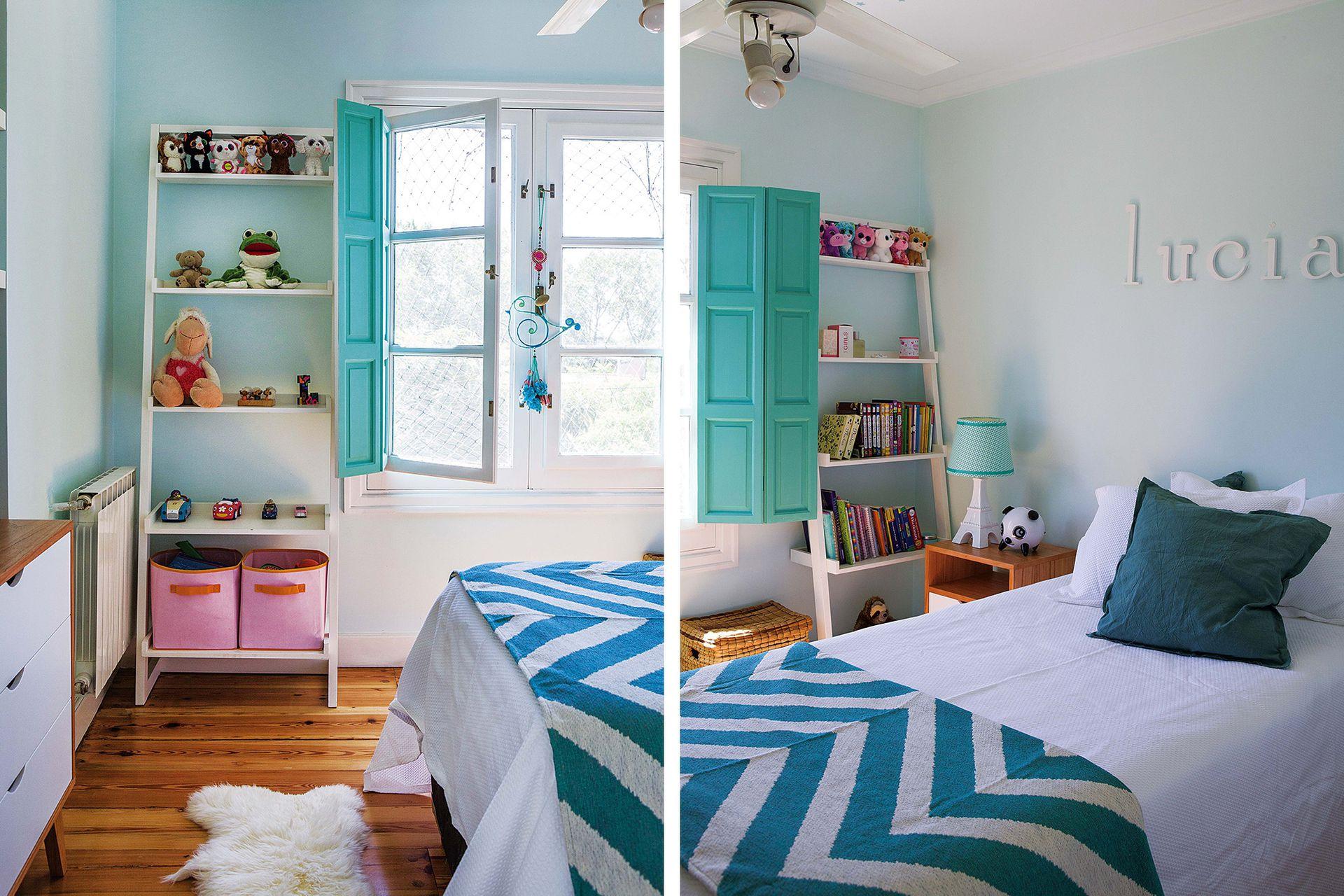 Al regresar de Colombia, Lucía eligió cambiar las paredes de su cuarto a verde agua. Los cajones rosados pertenecían a la decoración antigua, y generan un contraste divertido.